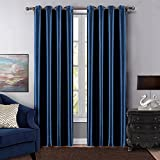 Dreaming Casa Grommet Top Solid Blackout Curtain Drapes Treatment Navy Blue Two Panels 100'' W x 84'' L