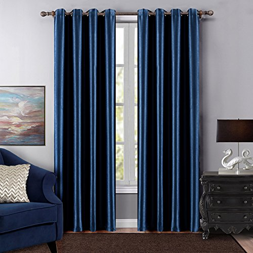 Dreaming Casa Grommet Top Solid Blackout Curtain Drapes Treatment Navy Blue Two Panels 72