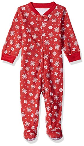 Amazon Essentials Baby Zip-Front Footed Sleep and Play, Red Snowflake, 0-3M]()