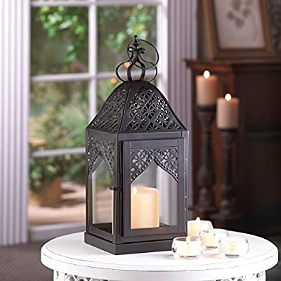"Steeple Candle Lantern Filigree Design 14"" Pillar Holder"