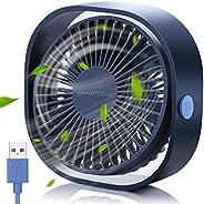SmartDevil Small Personal USB Desk Fan,3 Speeds Portable Desktop Table Cooling Fan Powered by USB,Strong Wind,