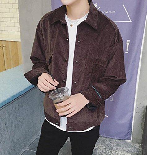 Tops Jacket Doufine Coat Bomber Bomber Men Jacket Buckle Outwear Coffee Lapel qPtxSPr