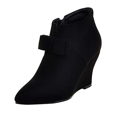 Women's Pointed Toe Wedge Heel Side Zip Bowknot Ankle Boots