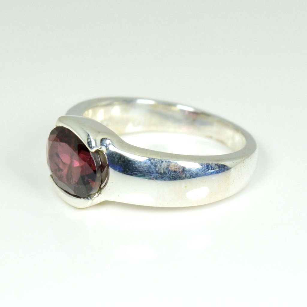 CaratYogi Round Shape Garnet Ring Sterling Silver Size 4-12 For Men and Women