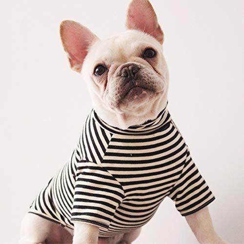 Pet Dog Colthes T-Shirt Vest Summar Soft Cute Stripe Costume Indoor Small Medium Two Trouser Legs for Teddydog Bulldog Poodle Bichon Frise Corgi etc,Black,L