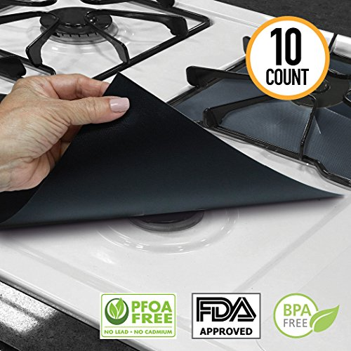 XL Gas Range Protectors FDA approved, PFOA-free, and BPA-free   Eliminate burnt-on food cleanup!   Pack of 10 Stove Liners for Gas Burners   Teflon Non-Stick Covers for Gas Stove Burners by Amazy