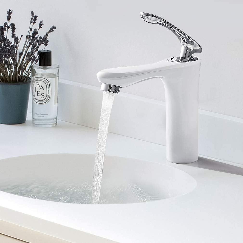 BONADE Robinet Salle de Bain Blanc Mitigeur de Lavabo Fusel/é avec A/érateur ABS D/émontable Robinet de Lavabo en Laiton Chrom/é pour Lave-mains Bassins