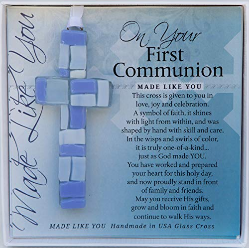 1st Communion Gifts For Boys (First Communion Gift for Boy - Handmade in USA Blue Mosaic Glass Cross with)