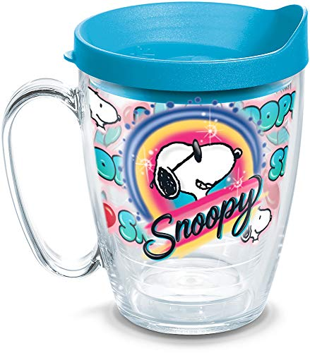 - Tervis 1311337 Peanuts Snoopy Graffiti Insulated Tumbler with Lid, 16 oz Mug, Clear