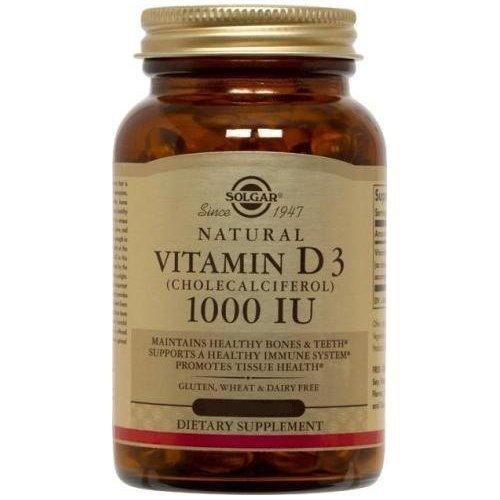 Vitamin D3 (Cholecalciferol) 1000 IU 250 Softgels (Pack of 3) by Solgar