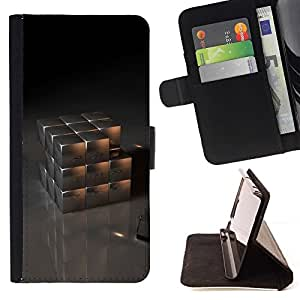 For Sony Xperia Z5 Compact Z5 Mini (Not for Normal Z5) Case , Cubo del metal- la tarjeta de Crédito Slots PU Funda de cuero Monedero caso cubierta de piel