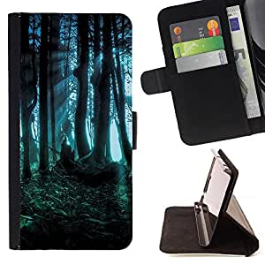 Forest Dark Fairy Mysterious Nature Summer - Painting Art Smile Face Style Design PU Leather Flip Stand Case Cover FOR Samsung Galaxy S5 Mini, SM-G800 @ The Smurfs