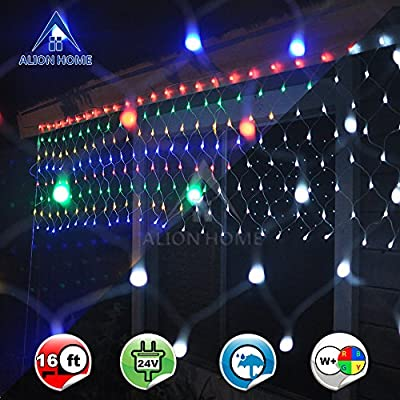 Alion Home Net Mesh 2-in-1 Dual Color 256-Count LED Tree Wrap Lights with 9 Functions & Controller- 16ft W × 2.5ft H- Multi-color + Cool White