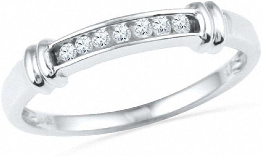 MENS 0.10c DIAMONDS WEDDING BAND White GOLD Anniversary Ring Round Channel Setng