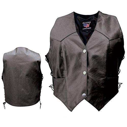 それからボタン枯渇AllstateレザーレディースSingle Panal Back Concealed Carry Vest