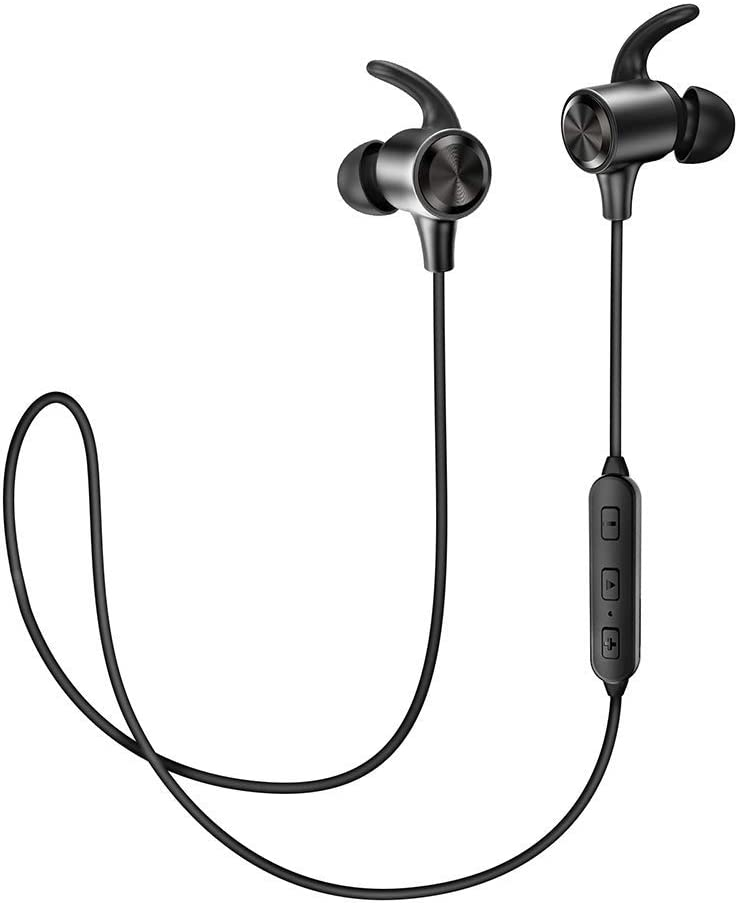 TaoTronics Bluetooth 4.2 Headphones Sport Earphones 9 Hours Playtime Lightweight Fast Pairing CVC 6.0 Noise Cancelling Mic, Snug Silicon Earbuds, Magnetic Design