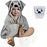 Hooded Baby Towel & Washcloth Glove - Soft Bamboo for Baby Boy Girl Newborns Toddlers Bath Set 0-24M