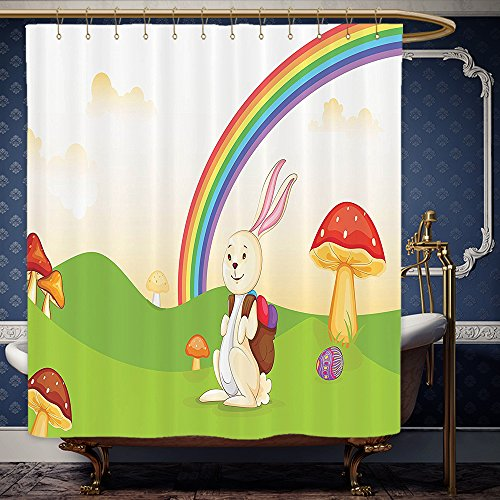 Wanranhome Custom-made shower curtain MushroomBunny with Easter Egg under the Rainbow Happy Rabbit in the Nature Kids Theme Fun Designlong Multi For Bathroom Decoration 72 x 96 inches