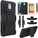 Galaxy Note 3 Case, Combo Shell Cover Kickstand with Built-in Holster Locking Belt Clip+Circle(TM)Touch Screen Pen And Screen Protector-Black