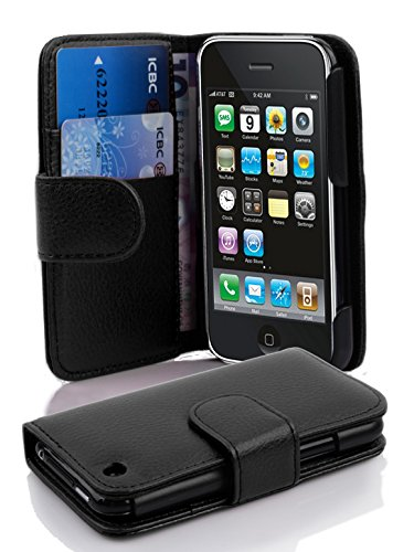 Cadorabo Case Works with Apple iPhone 3 / iPhone 3GS in Oxid Black (Design Book Structure) - with 2 Card Slots - Wallet Case Etui Cover Pouch Flip