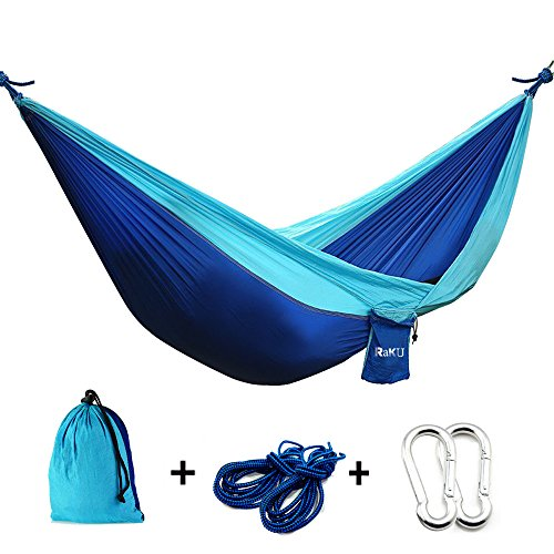 Raku 2 Person Portable Outdoor Traveling Camping Parachute Nylon Fabric Hammock (blue)