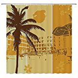 SATVSHOP Print-Fabric-Shower-Curtain-Comes-with-Magnets-at-The-bottomLandscape-Summer-Holiday-Theme-Illustration-of-a-ort-Flowers-and-Palm-TRE-Pattern-Brown-Marigold.W72-x-L90-inch