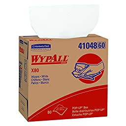 Wypall X80 Reusable Wipes (41048), Extended Use Wipers Pop-Up Box Format, White, 80 Sheets / Box; 5 Boxes / Case; 400 Sheets / Case