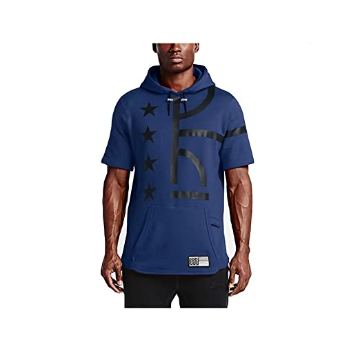 Nike Men's Air Pivot V3 Short Sleeve Hoodie Deep Royal Blue/Black (Large)