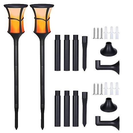 Luces solares LED para jardín, Efecto de llama realista ...