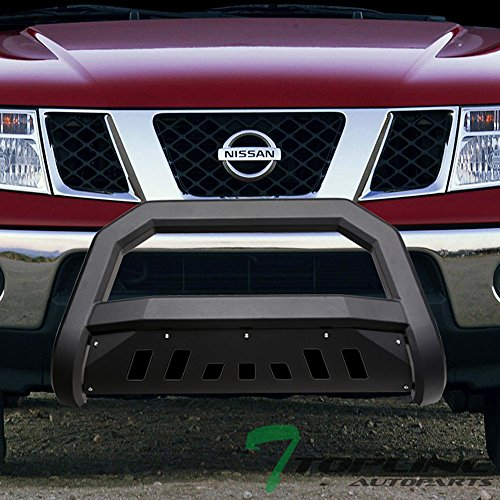 Bar Bull Nissan (Topline Autopart Matte Black AVT Style Bull Bar Brush Push Front Bumper Grill Grille Guard With Skid Plate For 05-18 Nissan Frontier ; 05-07 Pathfinder ; 05-15 Xterra)