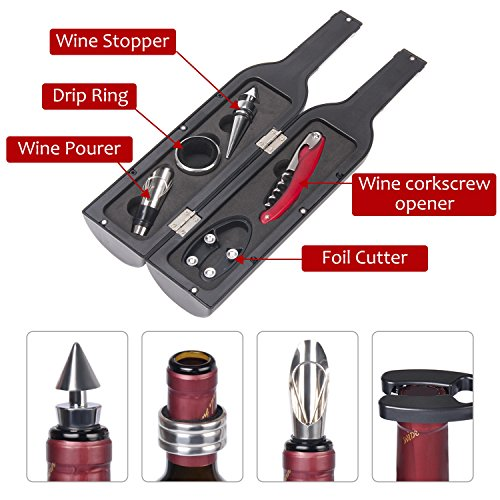 Wine Accessories Gift Set - 5 Pcs Deluxe Wine Corkscrew Opener Sets Bottle Shape in Elegant Gift Box, Great Wine Gifts Idea for Wine Lovers, Friends, Anniversary by Friend of Vines (Image #2)