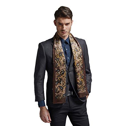 Silk Mens Neckerchief (Hip Mall 100% Double Layer Long Charmeuse Satin Silk Scarf Cravat Fashion Men Neckerchief)