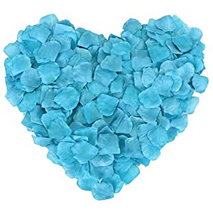 1000 Pcs Silk Artificial Rose Petals Wedding Party Decorations, Blue 5