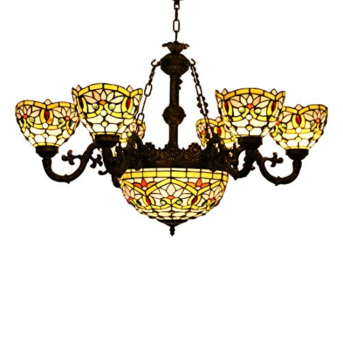 (Makenier Vintage Tiffany Style Stained Glass Lotus Flower Lampshades 6 Arms Chandelier with 12 Inches Inverted Ceiling Pendant)