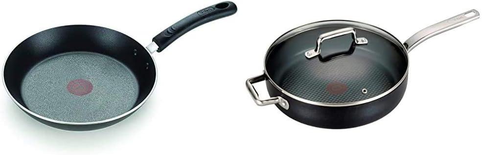 "T-fal E93808 Professional Nonstick Fry Pan, 12.5"", Thermo-Spot Heat Indicator, Black & C51782 ProGrade Titanium Nonstick Thermo-Spot with Induction Base Saute Pan Jumbo Cooker Cookware, 5-Quart, Black"