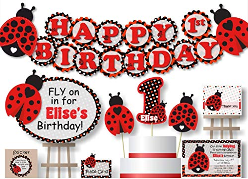 Personalized Ladybug Birthday Party Decorations for Girl - Banner with Optional Cake Topper, Centerpiece, Welcome Sign, Favor Tags or Stickers, Thank You Cards - Handmade in USA - BCPCustom - Ladybugs Personalized Birthday Banner