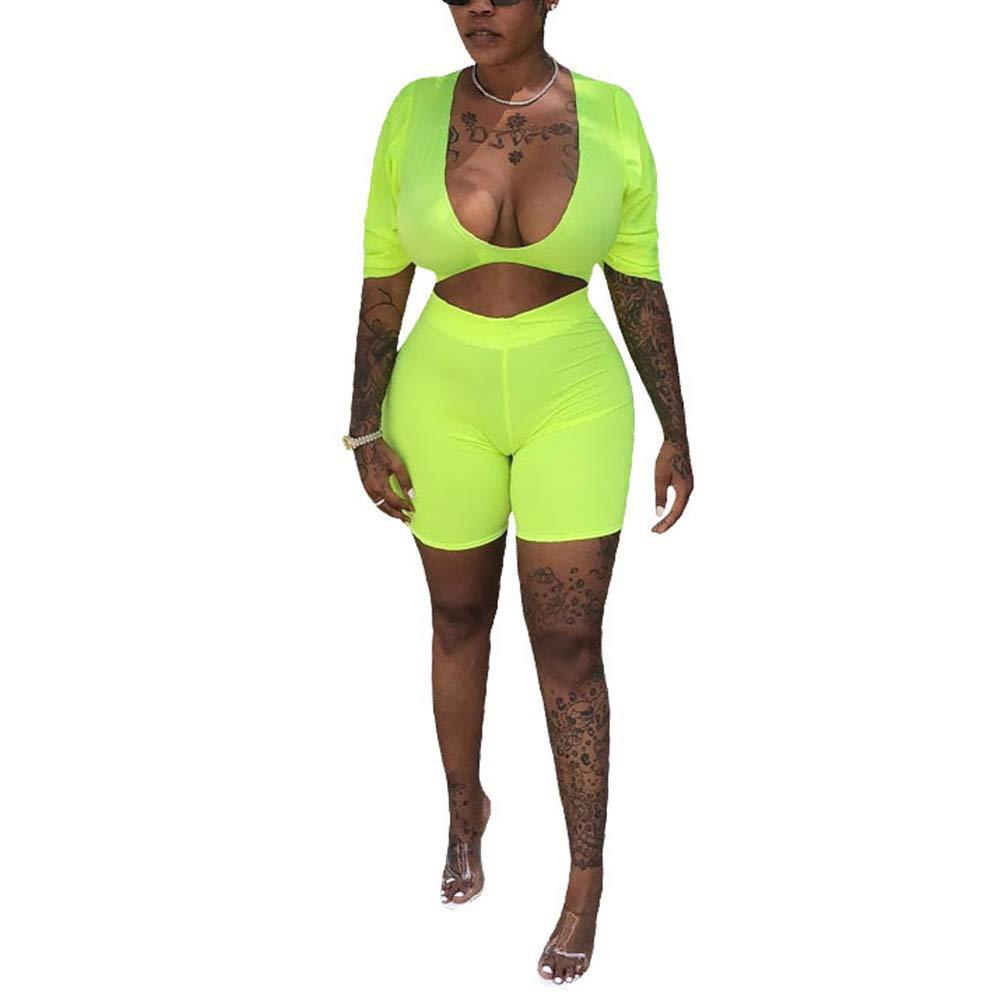 shop for best lovely design luxury fashion ECHOINE Womens Sexy Neon Lingerie 2 Piece Outfits Deep V Neck Short Pants  Jumpsuit Romper Clubwear