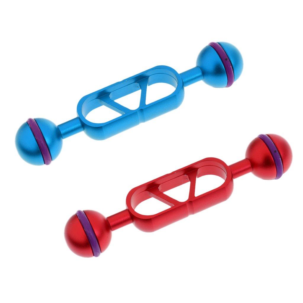 MonkeyJack 2個セット ブルー & レッド 12.6cm/5インチ アルミ合金 デュアルジョイント 1インチボール 延長アーム 用途: ダイビング水中写真照明システム   B074P2CZXT