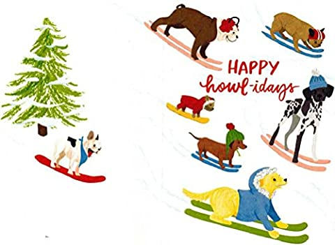 Skiing Holiday Dogs Rolled Christmas Gift Wrap Paper 2 Full Sheets of 27 inches x 39 inches - Golden Retriever Wrapping Paper