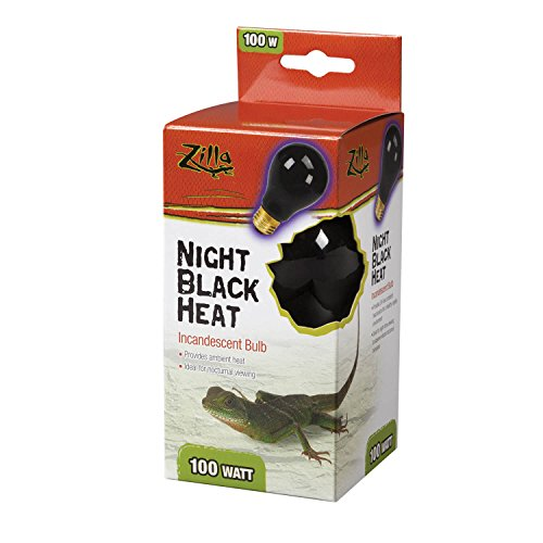 Zilla Reptile Terrarium Heat Lamps Incandescent Bulb, Night Black,100W (100 Watt Reptile Night Light)