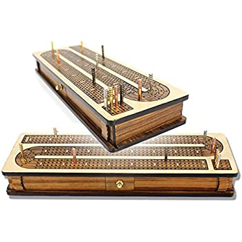 House of Cribbage - Continuous Cribbage Board Inlaid 4 Tracks Maple/Teakwood with Sliding Lids and Drawer