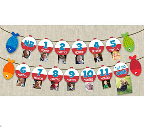 (Fishing Milestone Banner Children From Birth to One Year Old Record Photo Banner Set of 1)
