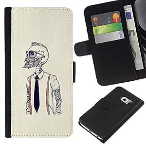 KLONGSHOP // Tirón de la caja Cartera de cuero con ranuras para tarjetas - Hipster Bearded Esqueleto - Samsung Galaxy S6 EDGE //