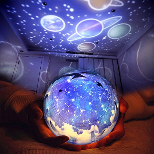 Luckoney Star Night Light for Children, Universe Projection Lamp for Kids' Bedroom, Romantic Rotating Star Sea LED Lamp for Baby Nursery, Best Birthday Christmas Gifts - 5 Sets of Film by Luckoney