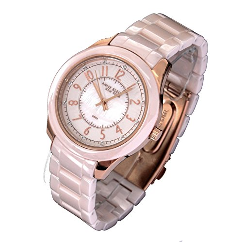 Anne Klein Swiss Watches (Anne Klein Womens Ceramic Champagne Rosegold-tone Crystal Watch)