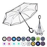 WASING Double Layer Inverted Umbrella Cars Reverse Umbrella, Windproof UV Protection Big Straight Umbrella for Car Rain Outdoor with C-Shaped Handle (Transparent)
