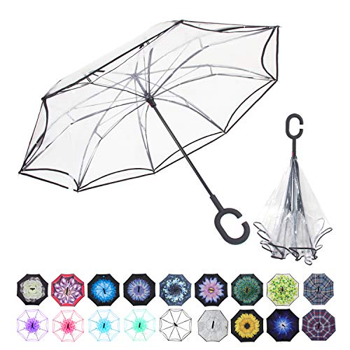 WASING Double Layer Inverted Umbrella Cars Reverse Umbrella, Windproof UV Protection Big Straight Umbrella for Car Rain Outdoor with C-Shaped Handle - Closing Self Classic Face