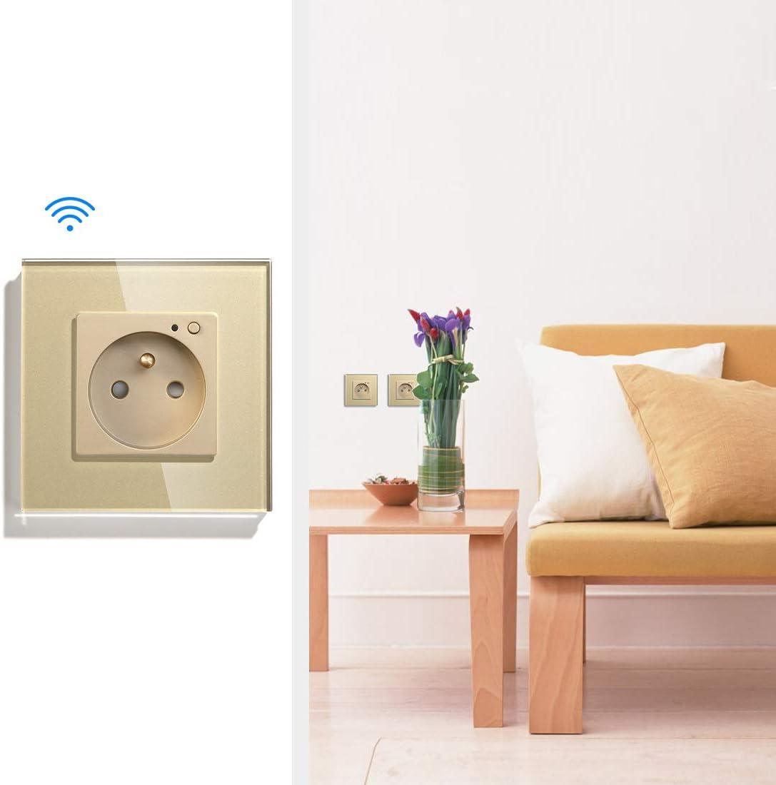 BSEED Prise Intelligente WiFi,prise murale 16amp Single Prises de courant alternatif Compatible avec Alexa and Google Home Panneau en verre cristal standard fran/çais nouveau prise murale Blanc FR