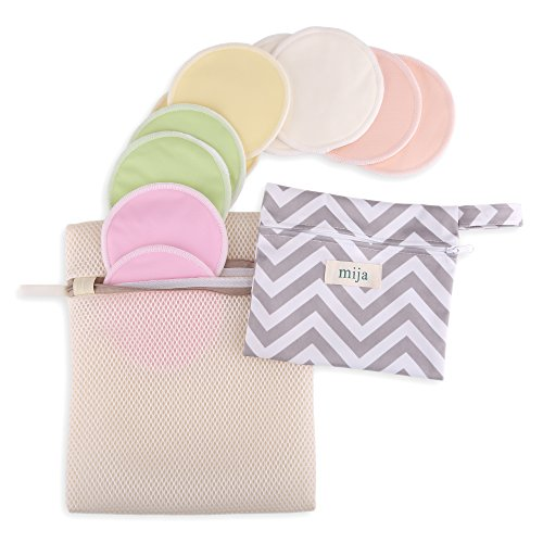 Reusable Organic Bamboo Nursing Pads (10 Pack) Gift Set with Laundry Bag & Travel Wet Bag by Mija - Washable, Leak-proof, Ultra Soft, Hypoallergenic pads for Breastfeeding Women (Light Pastel) (Nursing Pads Set)
