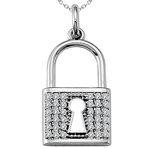 0.36 Carat G-H Diamond Unique Fancy Design Lock & Key Necklace Pendant With Chain 14K White Gold ()